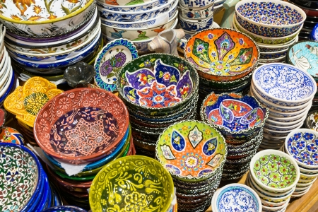 Turkish ceramics in the Grand Bazaar on may 27, 2013 in Istanbul, Turkey  The Grand Bazaar is the oldest and the largest covered market in the world, with 61 covered streets and over 3,000 shops