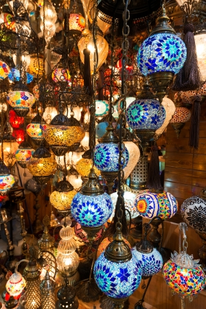 Colorful Turkish lanterns offered for sale at the Grand Bazaar on may 27, 2013 in Istanbul, Turkey  It is a popular souvenir for tourists