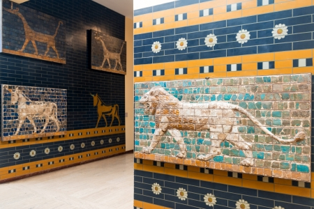 Fragments of the Babylonian Ishtar Gate in the Archaeology Museums on may 25, 2013 in Istanbul, Turkey  The Gate of Ishtar in Babylon were built in the 6th century BC