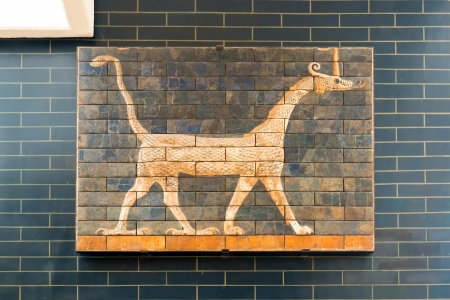 Fragment of the Babylonian Ishtar Gate in the Archaeology Museums on may 25, 2013 in Istanbul, Turkey  The Gate of Ishtar in Babylon were built in the 6th century BC