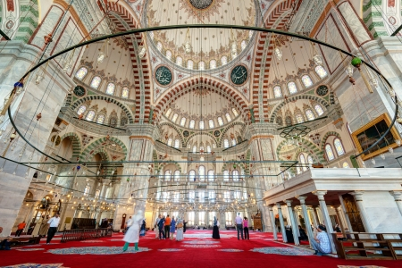 conqueror: Inside the Fatih Mosque on may 26, 2013 in Istanbul, Turkey  The Fatih Mosque Mosque   Conqueror s Mosque  is one of the largest examples of Turkish-Islamic architecture in Istanbul