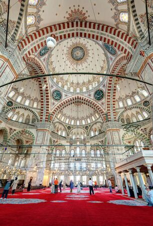 mehmed: Inside the Fatih Mosque on may 26, 2013 in Istanbul, Turkey  The Fatih Mosque Mosque  Conqueror s Mosque  is one of the largest examples of Turkish-Islamic architecture in Istanbul