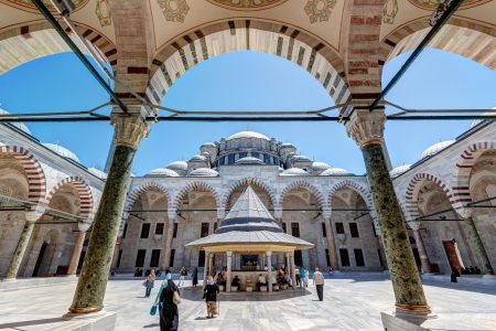 conqueror: he inner courtyard of the Fatih Mosque  Conqueror s Mosque  on May 26, 2013 in Istanbul, Turkey  The Fatih Mosque Mosque  Conqueror s Mosque  is one of the largest examples of Turkish-Islamic architecture in Istanbul