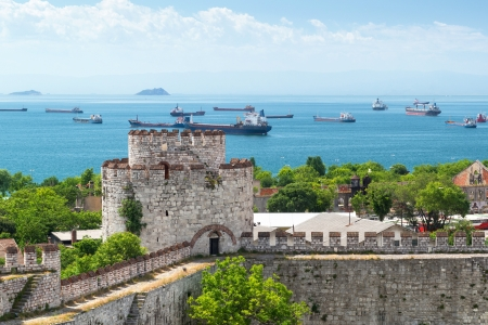mehmed: View of Sea of Marmara from Yedikule Fortress in Istanbul, Yurkey  Yedikule fortress, or Castle of Seven Towers, is the famous fortress built by Sultan Mehmed II in 1458