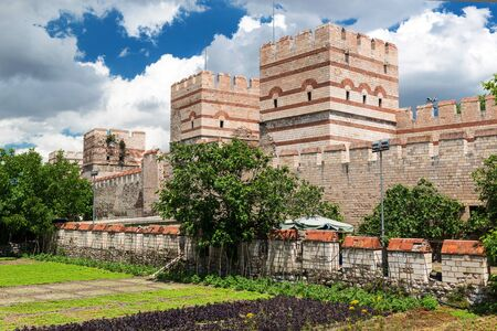 constantinople ancient: The ancient walls of Constantinople in Istanbul, Turkey Stock Photo