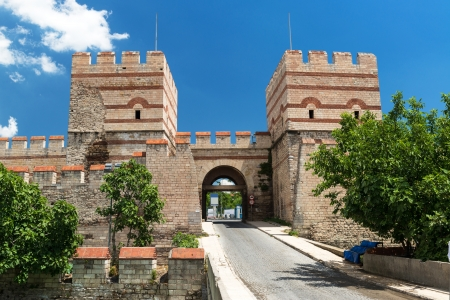 constantinople: Famous ancient walls of Constantinople in Istanbul, Turkey Stock Photo