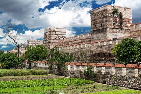 constantinople ancient: Famous ancient walls of Constantinople in Istanbul, Turkey Stock Photo
