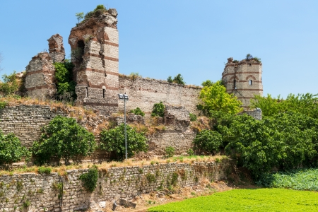 constantinople: The ruins of famous ancient walls of Constantinople in Istanbul, Turkey