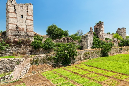 constantinople ancient: The ruins of famous ancient walls of Constantinople in Istanbul, Turkey