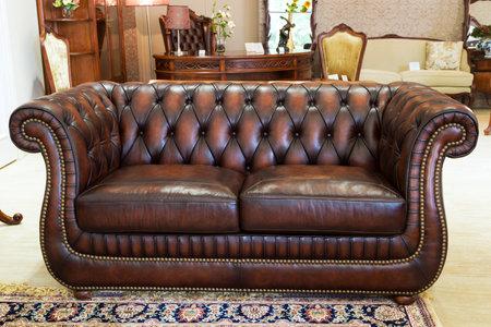 Classic leather sofa in a furniture store