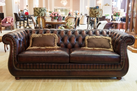 Attractive Classic Leather Sofa In A Furniture Store Stock Photo   21039428