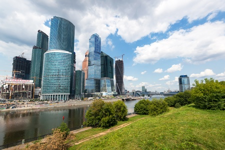Moscow-City  Moscow International Business Center  on july 11, 2013, Russia  Moscow-City is a modern commercial district in central Moscow