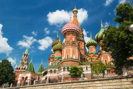 The St  Basil s Cathedral on july 13, 2013 in Moscow, Russia  St  Basil s Cathedral is a famous monument of Russian culture of the 16th century  Stock Photo - 21039110