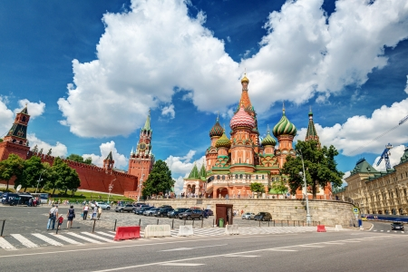 st basil s cathedral: Tourists visiting the St  Basil s Cathedral on july 13, 2013 in Moscow, Russia  St  Basil s Cathedral is a famous monument of Russian culture of the 16th century