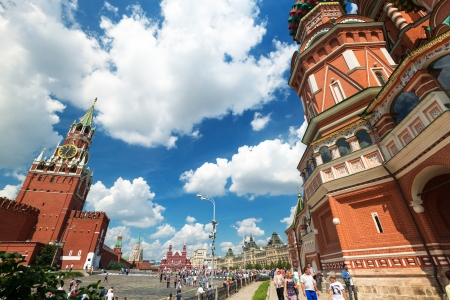 Tourists visiting the Red Square on july 13, 2013 in Moscow, Russia  St  Basil
