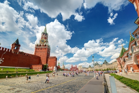 Tourists visiting the Red Square on july 13, 2013 in Moscow, Russia  The Red Square and the Kremlin are the main attractions in Moscow