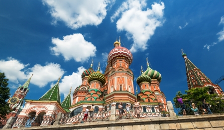 Saint Basil cathedral  Pokrovsky Cathedral  and the Kremlin in Moscow, Russia