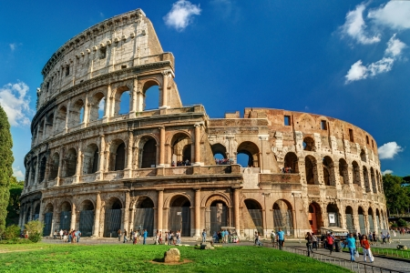 Tourists visiting the Colosseum on october 4, 2012 in Rome, Italy  The Colosseum is a major tourist attraction in Rome