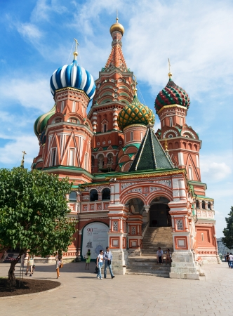 Saint Basil cathedral  Pokrovsky Cathedral  on the Red Square on july 13, 2013 in Moscow, Russia  St  Basil