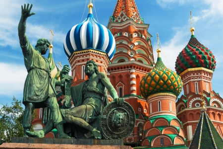 Monument to Minin and Pozharsky in front of the Saint Basil cathedral in Moscow photo