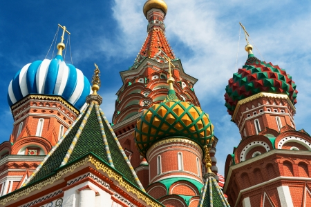 Saint Basil cathedral on the Red Square in Moscow, Russia   Pokrovsky Cathedral Stock Photo - 21149587