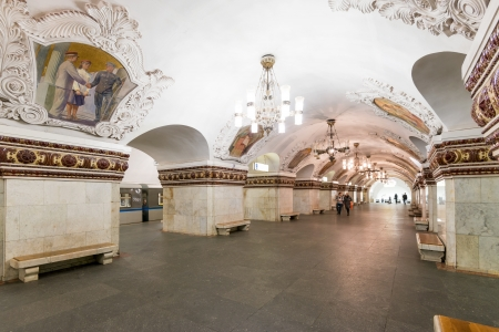 The metro station Kievskaya on May 4, 2013 in Moscow, Russia  Metro station Kievskaya is a beautiful monument of the Soviet era