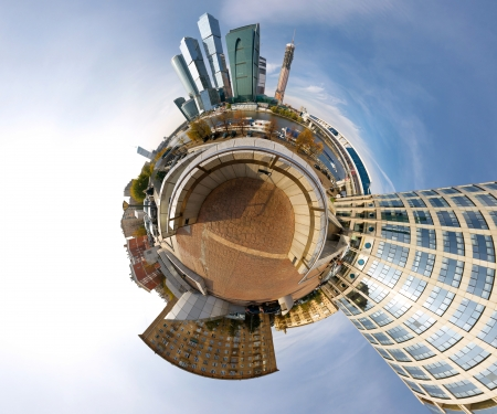 Moscow-city business center spherical panorama, Russia