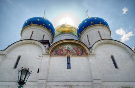 sacred trinity: Uspensky Cathedral in Trinity Sergius Lavra  Sergiev Posad, Russia