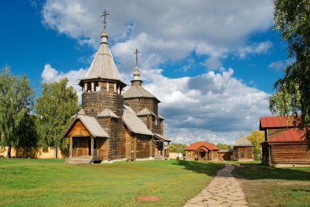 The traditional russian wooden church for tourists in the ancient town of Suzdal , Russia