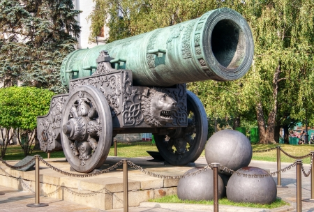 tsar: The ancient biggest cannon in Moscow Kremlin,  Tsar Cannon  Editorial