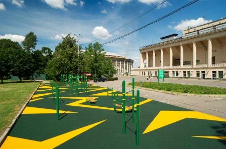 Sports gymnastic ground on the street in Luzhniki,\ Moscow