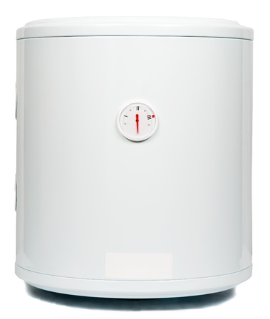 A residential electric water heater, isolated on white photo