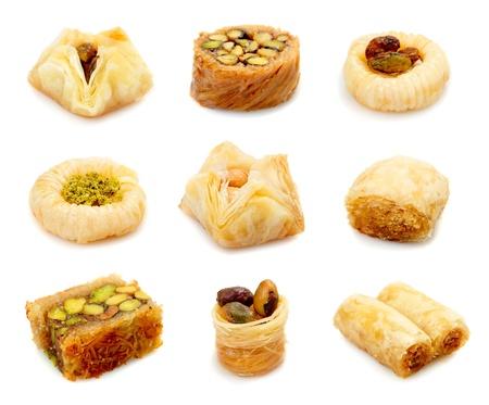 Oosterse snoepjes op een witte achtergrond Stockfoto