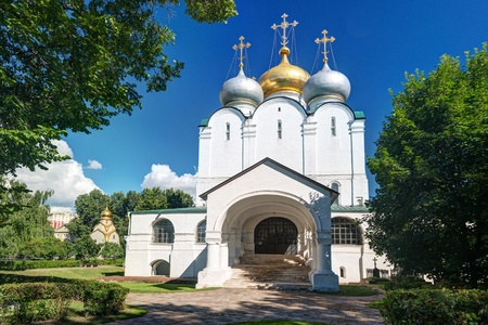 convent: Smolensky cathedral in Novodevichy convent in Moscow, Russia Stock Photo