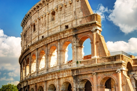 View of the Colosseum in Rome, Italy Banco de Imagens