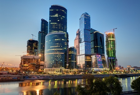 Mosca-citt� Moscow International Business Center di notte, Russia