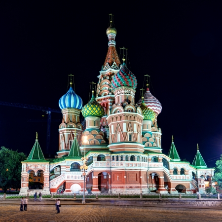 Saint Basil cathedral on the Red Square at night in Moscow, Russia   Pokrovsky Cathedral  photo