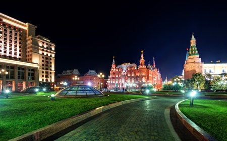 Manezhnaya Square at night in Moscow, Russia photo