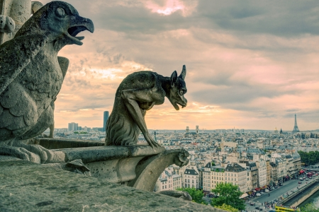 notre dame cathedral: Chimeras  gargoyle  of the Cathedral of Notre Dame de Paris overlooking Paris, France Stock Photo