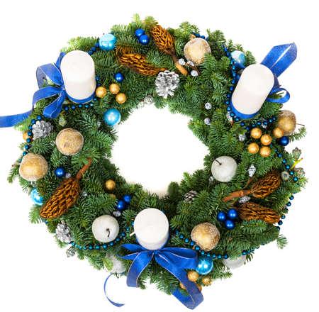 Christmas decoration wreath isolated on white background photo