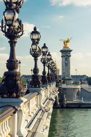 View of Alexandre III bridge in Paris  Alexandre III bridge is one of the top tourist destinations in Paris