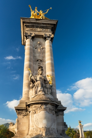 Detail of the Alexandre III bridge in Paris, France photo