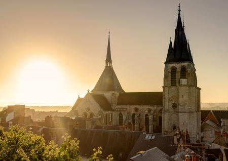 abbaye: Saint-Nicolas Church in Abbaye Saint-Laumer at sunset, France