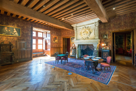 french renaissance: Interior chateau de Azay-le-Rideau, France  This castle is located in the Loire Valley, was built from 1515 to 1527, one of the earliest French Renaissance chateaux  Editorial