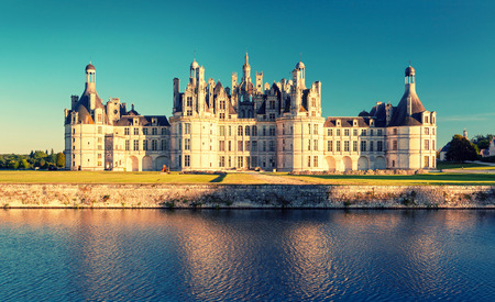 chambord: The royal Chateau de Chambord, France  This castle is located in the Loire Valley, was built in the 16th century and is one of the most recognizable chateaux in the world  Vintage photo  Editorial
