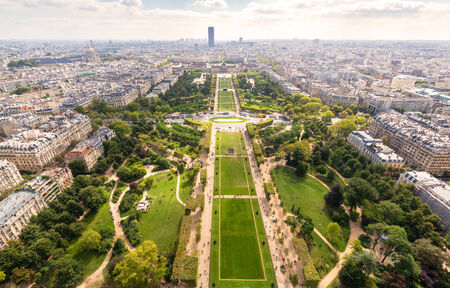 The Champ de Mars in Paris. View from the Eiffel Tower. photo