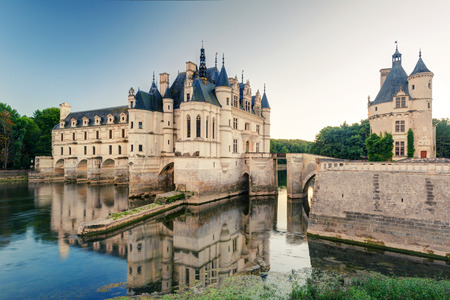 The Chateau de Chenonceau, France  This castle is located near the small village of Chenonceaux in the Loire Valley, was built in the 15-16 centuries and is a tourist attraction  免版税图像 - 26187232