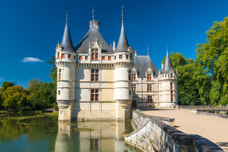 The chateau de Azay-le-Rideau, France  This castle is located in the Loire Valley, was built from 1515 to 1527, one of the earliest French Renaissance chateaux