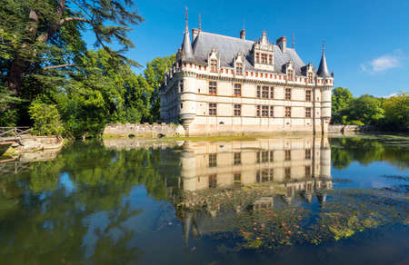 historical sites: The chateau de Azay-le-Rideau, France  This castle is located in the Loire Valley, was built from 1515 to 1527, one of the earliest French Renaissance chateaux