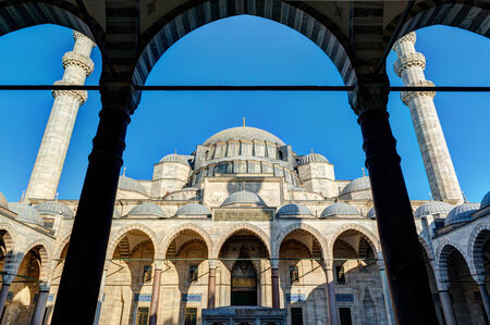 suleyman: The inner courtyard of the Suleymaniye Mosque in Istanbul, Turkey  The Suleymaniye Mosque is the largest mosque in the city, and one of the best-known sights of Istanbul